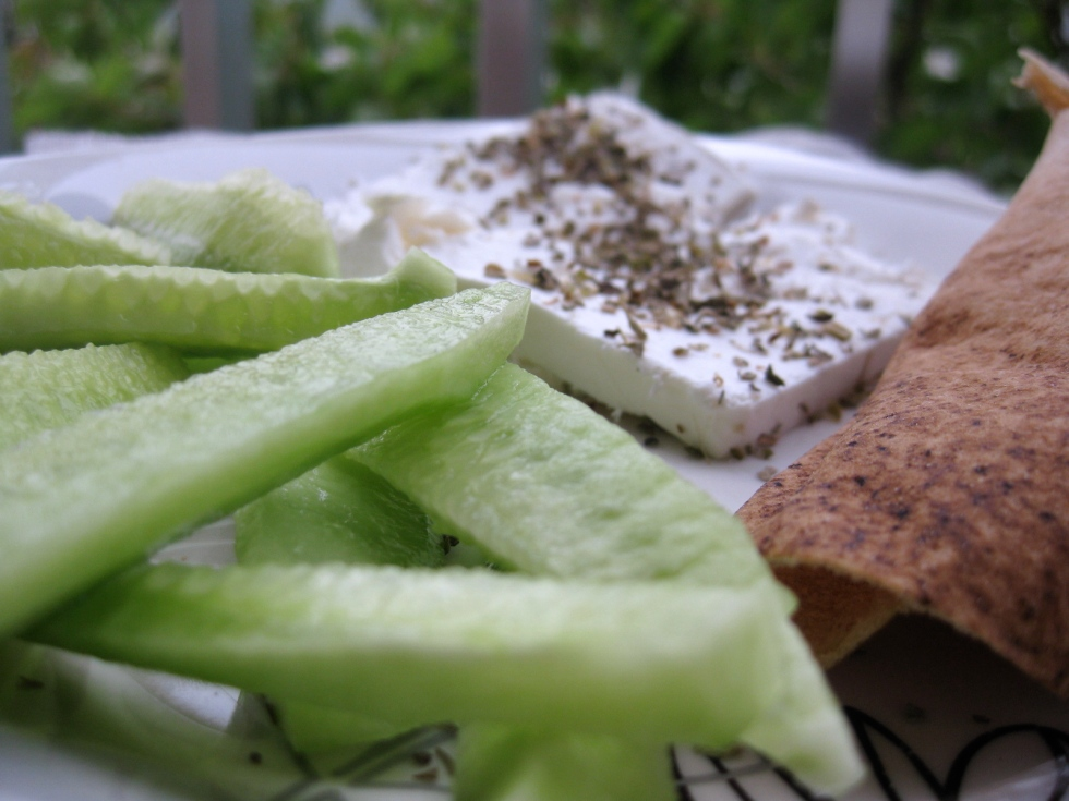 Cucumber, fetta cheese and brown Arabic bread