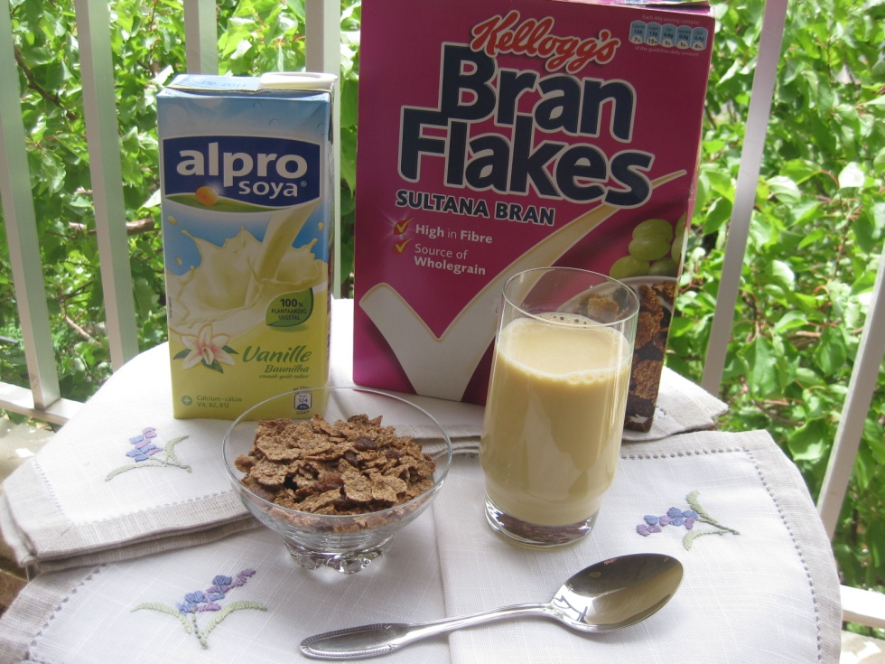 Alpro soy milk and kellogg's bran flakes