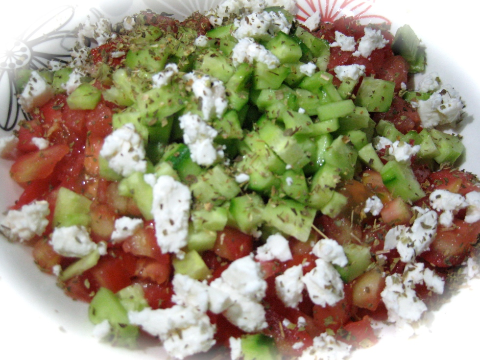 Tomatoes and cucumbers salad