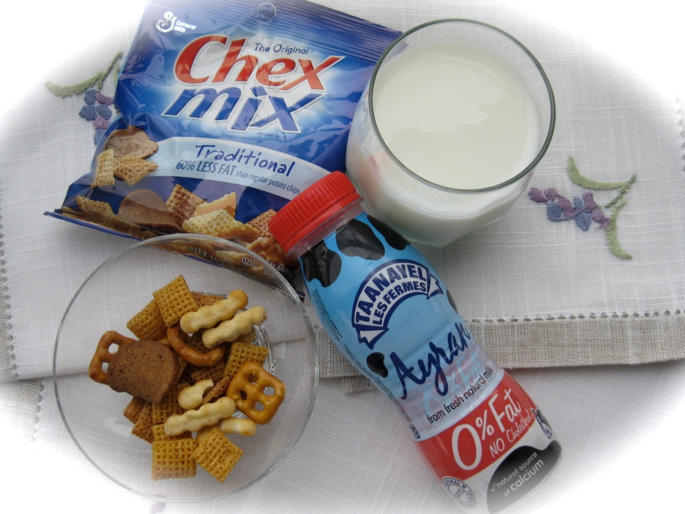 chex mix and yogurt