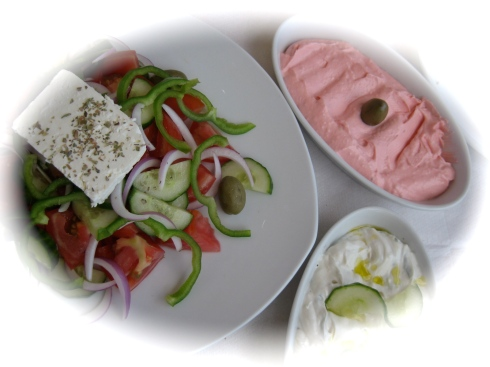 Greek salad, taramossalata and tzatziki