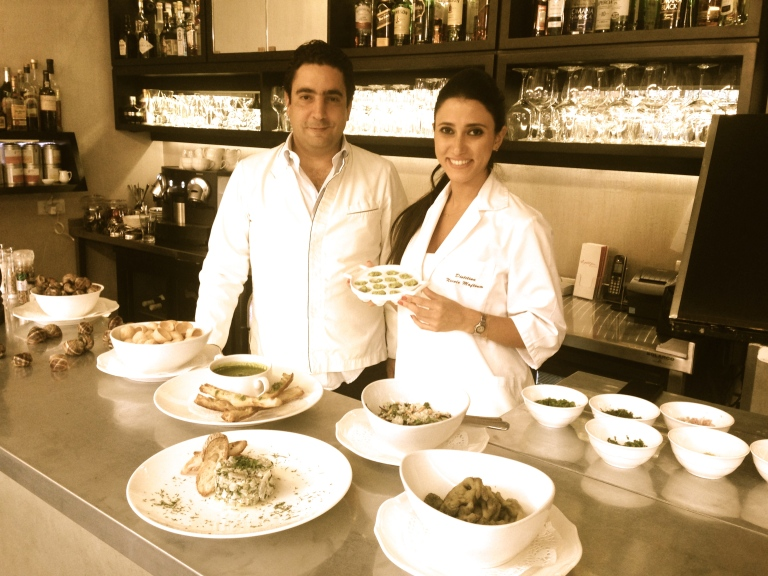 Nicole Maftoum and Makram Rabbath cooking